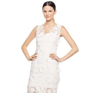 MILLY 3D Floral Embroidery Mari Mini White Dress